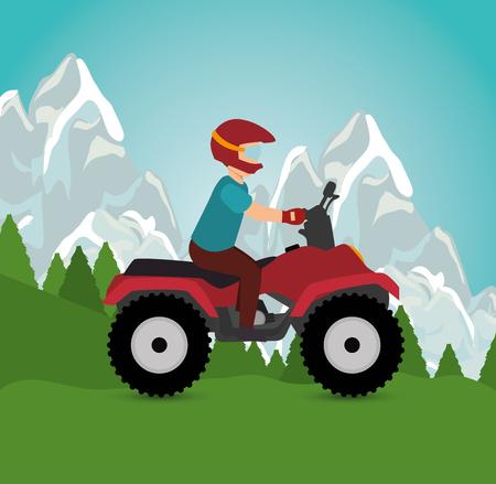man riding atv sport landscape background vector