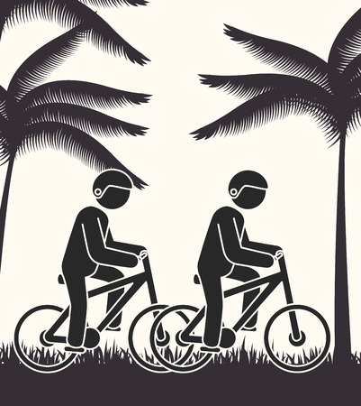 rural road: cyclist person rural road background vector illustration