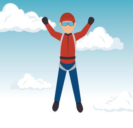 sky diver guy extreme sport vector illustration