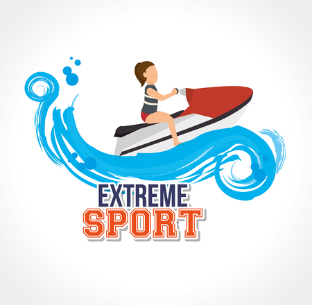 wanderlust: extreme sport jet ski label design vector illustration