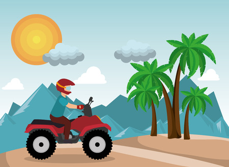 atv driver man beach mountain background vector illustration