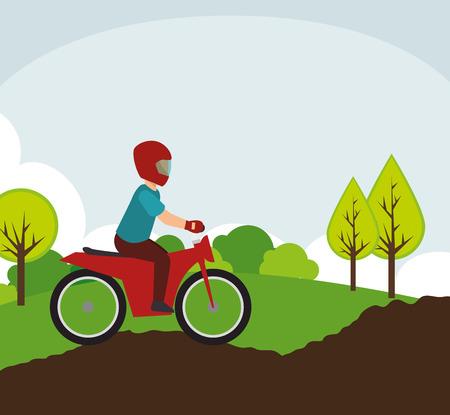 motociclista: motociclista en el camino rural paisaje ilustración vectorial eps 10