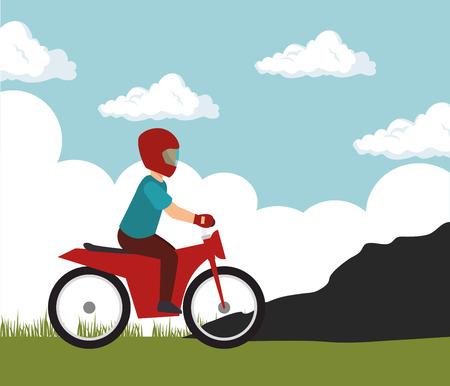motorcylcist extreme sport on mountain vector illustration eps 10