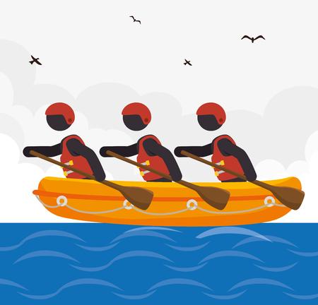 rafting kayaking team  design vector illustration eps 10