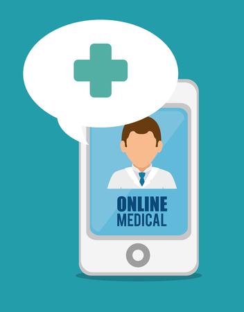 digital thermometer: medical online smartphone doctor cross vector illustration eps 10 Illustration