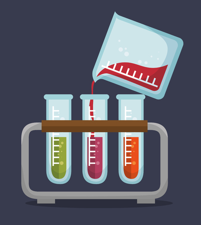 reagent: set test tube rack liquid vector illustration eps 10 Illustration