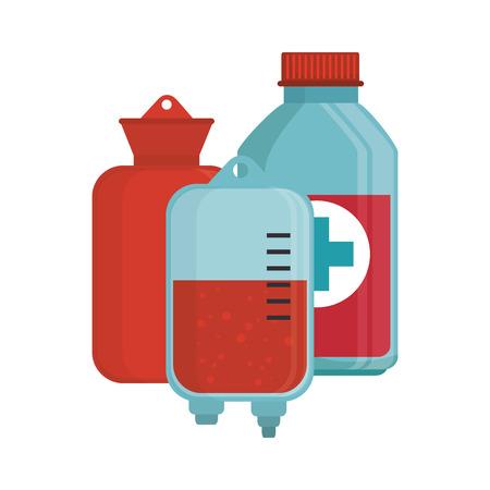 iv drip: blood donation bag bottle medical vector illustration eps 10