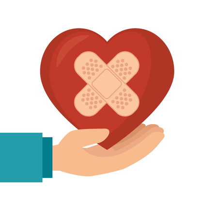 broken love: hand hold heart with plaster vector illustration eps 10
