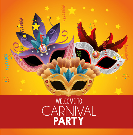 welcome carnival party bright masks feathers stars confetti banner vector illustration eps 10