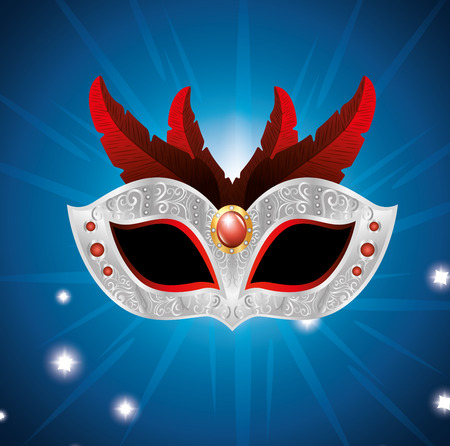 carnival mask with red feathers lights blue background vector illustration eps 10