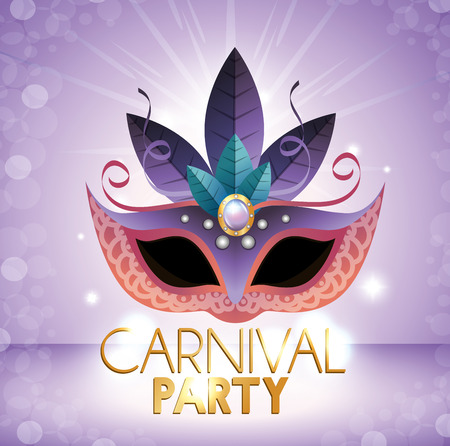 carnival party mask purple bright background vector illustration eps 10