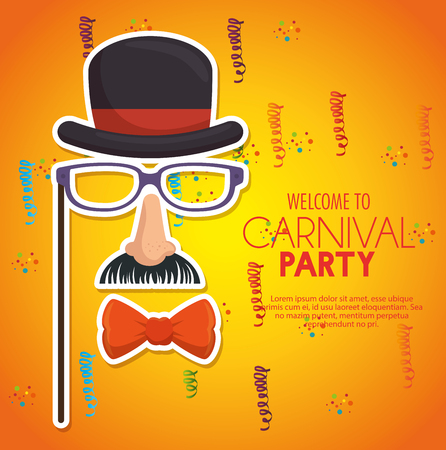 dali: welcome carnival party gentleman mask confetti yellow background vector illustration eps 10