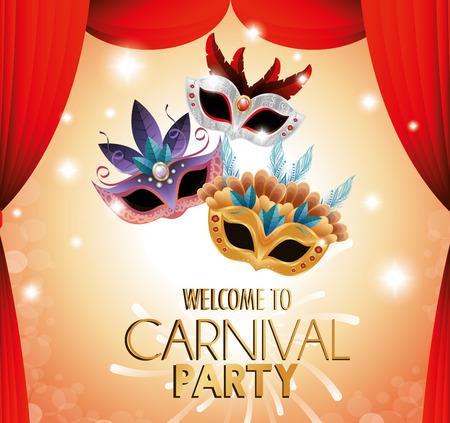caretas teatro: carnaval de bienvenida máscaras del teatro del partido ilustración vectorial de color EPS 10 Vectores
