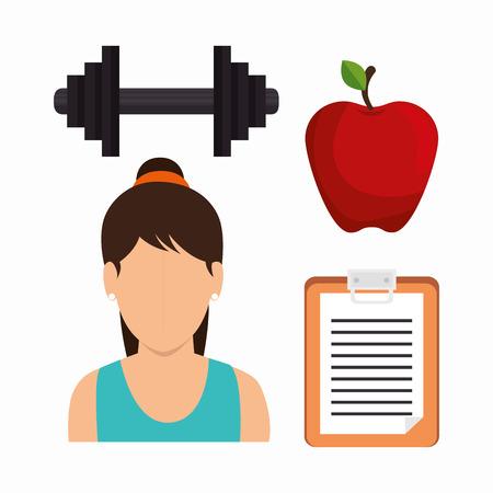 girl apple: set fitness girl apple barbell clipboard vector illustration eps 10