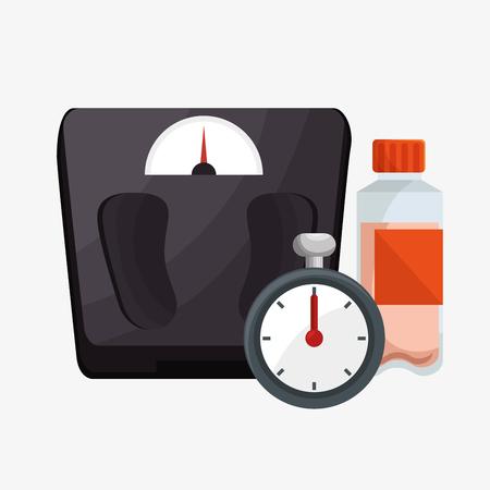 chronometer: set weight scale chronometer bottle protein vector illustration eps 10