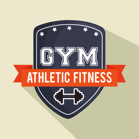 elite sport: emblem gym athletic fitness shield vector illustration eps 10 Illustration