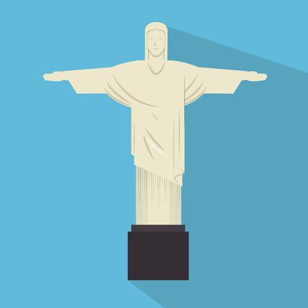corcovado: monument jesus statue rio janeiro vector illustration eps 10