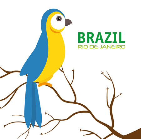aviary: bird macaw blue and yellow brazil vector illustration eps 10