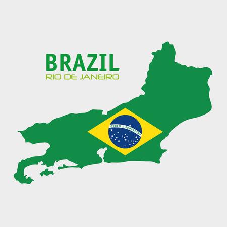 ful: brazil rio de janeiro map and flag vector illustration eps 10