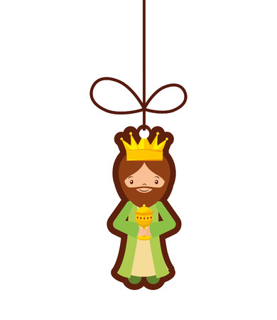 balthazar: wise man epiphany manger character vector illustration design