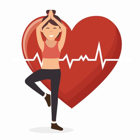 sport girl working heart monitoring vector illustration eps 10