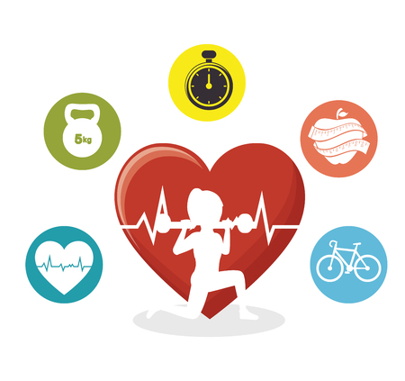 silhouette girl lifting weight heart pulse sport icons vector ilustration eps 10