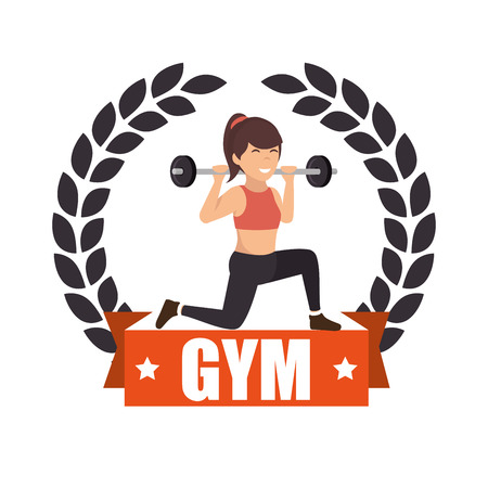 gym sport fitness girl weight label vector illustration eps 10 Illustration