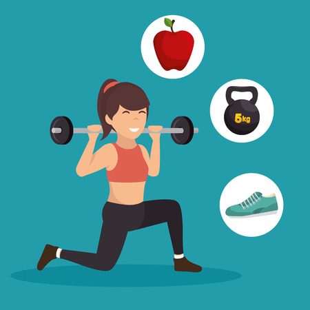 squat: sporting girl lunge squat weight barbell icons vector illustration eps 10 Illustration