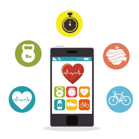 smartphone heart rate app fitness health vector illustration eps 10