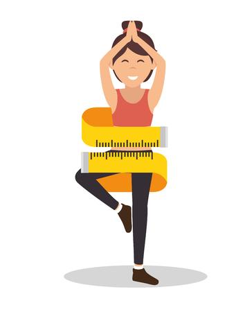 cartoon girl measuring lose weight vector illustration eps 10
