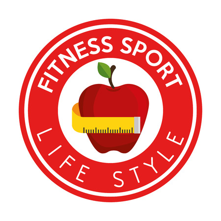 life style: fitness sport life style apple measure tape label vector illustration eps 10