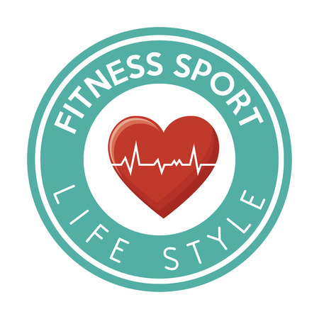 life style: fitness sport life style heart rate badge design vector illustration eps 10 Illustration
