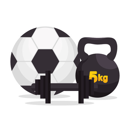 signo pesos: sport gym ball barbell kettlebell icons vector illustration eps 10 Vectores