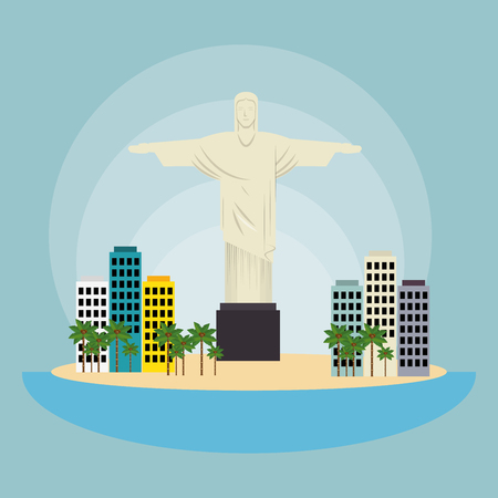 cristo: monument christ brazil urban landscape vector illustration eps 10