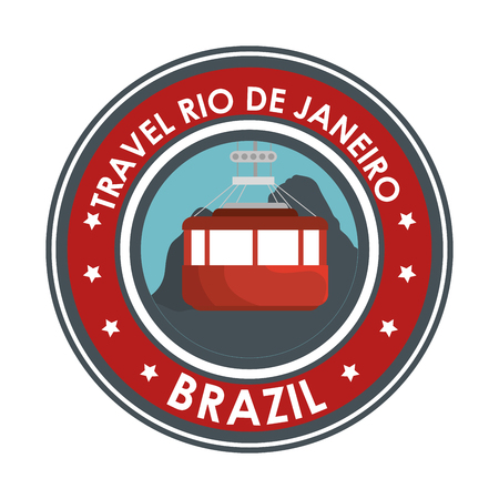 panoramic beach: travel rio de janeiro brazil cable car emblem design vector illustration eps 10 Illustration