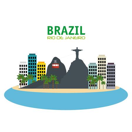 down town: brazil rio de janeiro touristics places design vector illustration eps 10 Illustration