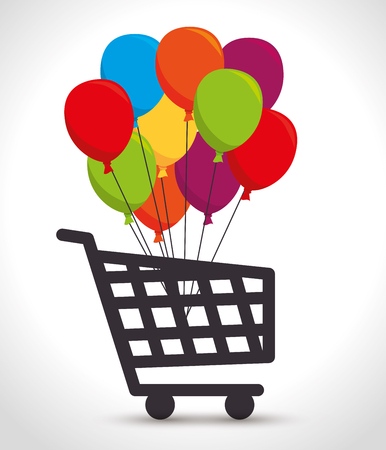 shopping cart colored balloons bunch vector illustration