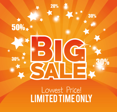 limited: big sale limited time only gold glossy vector illustration