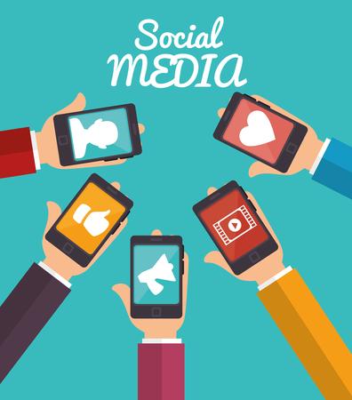 hand hold smartphone social media applications vector illustration