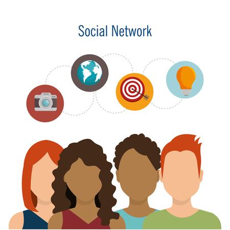 social network teamwork communication design vector illustration