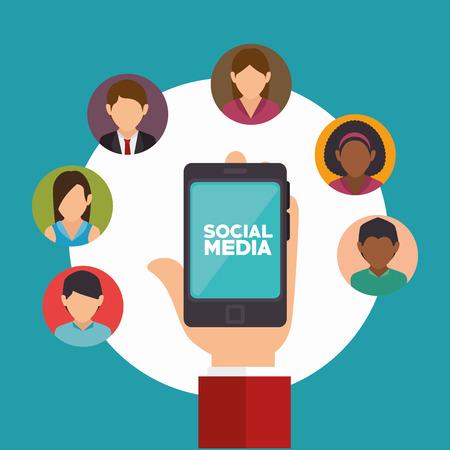 hand holds smartphone social media communication vector illustration Illustration