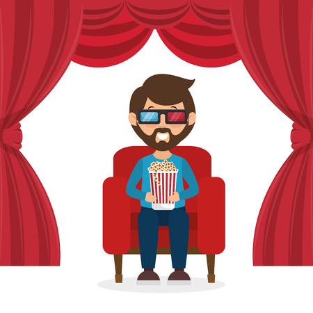 character man sitting watch 3d movie with pop corn vector illustration