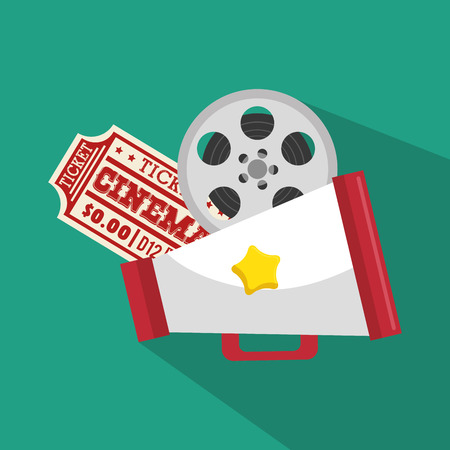 director chair: ticket cinema movie icon vector illustration