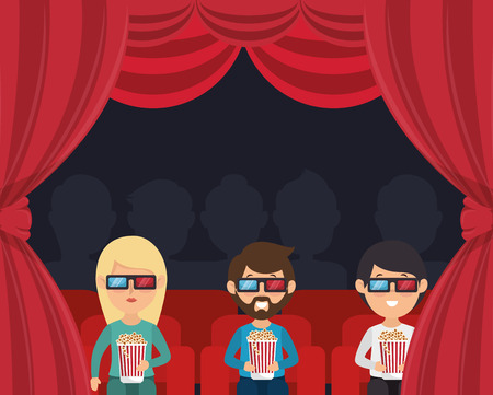 3d film: characters watching 3d film cinema vector illustration