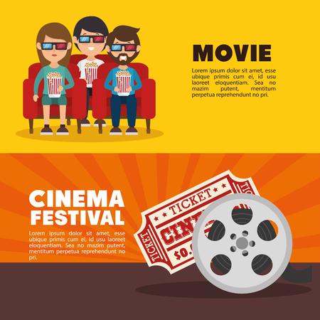 cinéma, festival, festival, gens, billet, bannière, vecteur, illustration Vecteurs