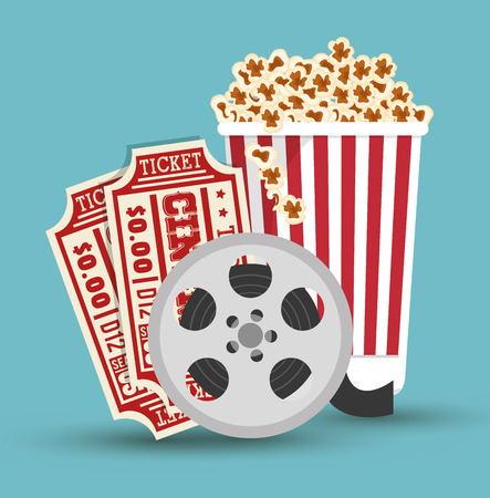 set cinema movie icon design vector illustration