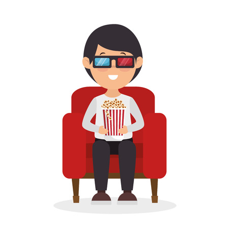 character man sitting watch 3d movie with pop corn vector illustration Illustration