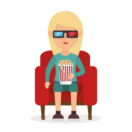 3d film: girl sitting couch pop corn and 3d film vector illustration
