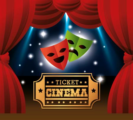 caretas teatro: teatro máscaras boleto del cine ilustración luces del vector