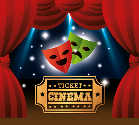 theatre masks: theater masks ticket cinema lights vector illustration Vectores